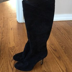 """Black Suede Stiletto Boots 7 4"""" Heel"""
